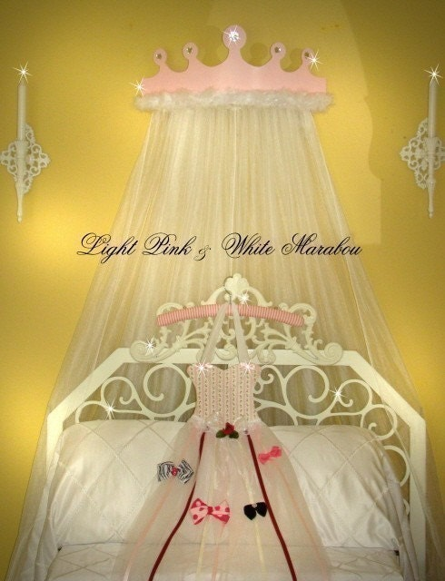 Light Pink Jewel Princess Bed Canopy With White Marabou Boa