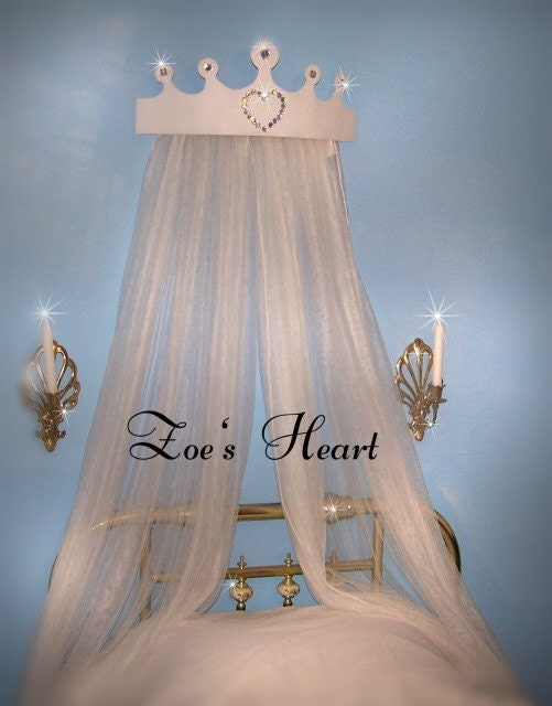 Princess Crown Tiara Jewel Rhinestone Heart Bed Canopy And