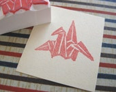 Japanese origami crane stamp - Hand carved rubber stamp