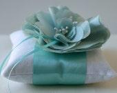 Wedding Ring Pillow -Emma Aqua and Ivory Peony Bloom