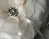 Ring Bearer Pillow-The Elizabeth Handmade Flower with Vintage Crystal