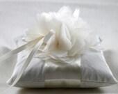 Wedding Ring Pillow-Lindsey Handmade Ivory Silk Flower