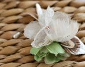 Autumn Linen Boutineer , Silk, Feather, Vintage Velvet
