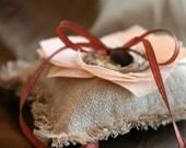 Wedding Ring Pillow- Burlap Linen Bird's Nest