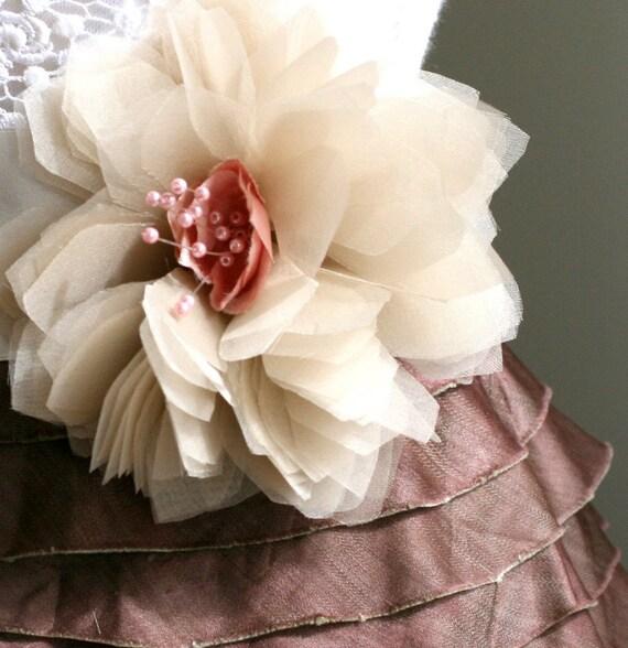 Milly Organza Bloom with Vintage Stamen Brooch or Hair Clip