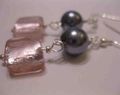 Pink and Gray Dangle Earrings