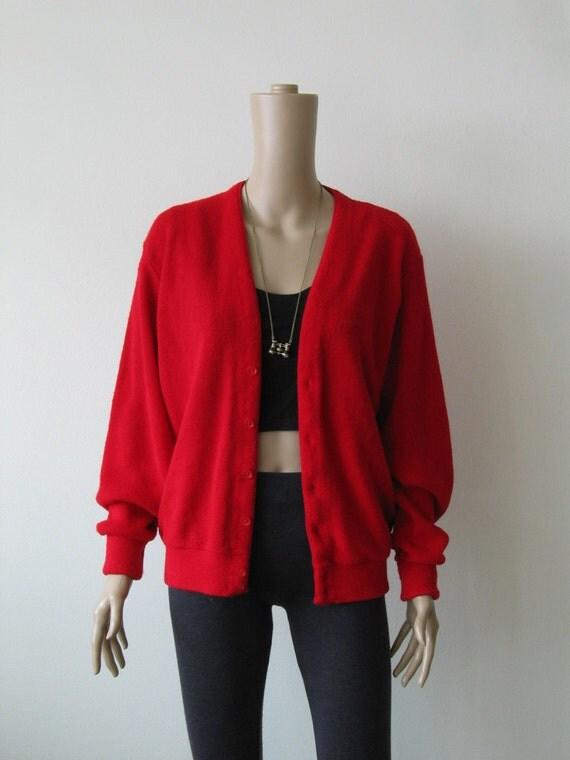 60s Red Cardigan Sweater Grandpa Cardigan London Fog Slouchy