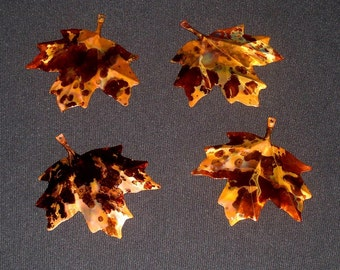 COPPER LEAVES--Set of 4