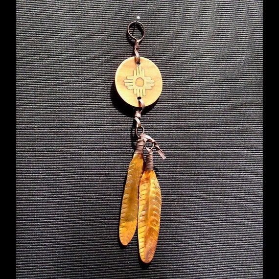 FEATHER HAPPINESS PENDANT  Native American. All Copper