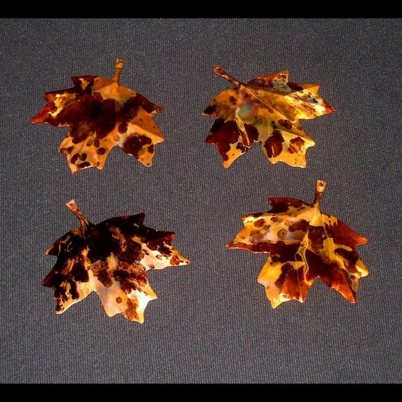 COPPER LEAVES--Set of 4