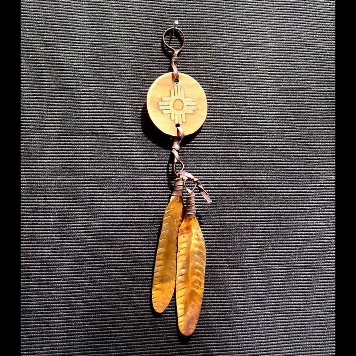 FEATHER HAPPINESS PENDANT Native American. by JLHCopperDesigns