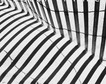 Snow Fence and Shadow Photograph.