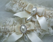 Wedding garter set ivory beaded Chantilly lace