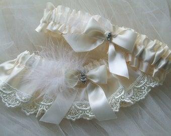 Wedding Garter Set Ivory Satin And Ivory Venice Trim Lace