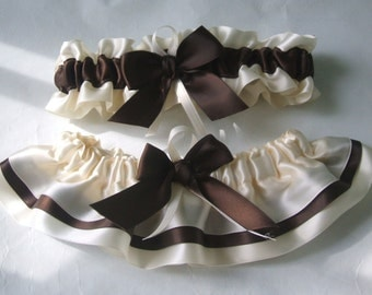 Wedding Garter Set  Ivory And Brown Satin