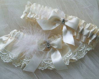 Wedding Garter Set Bridal Garter Ivory Satin And Ivory Venice trim lace