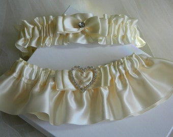 Ivory Wedding Garter Set /Ivory Satin Bridal Garter/Garter/Garter Set