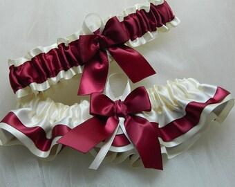 Wedding Garter,Bridal garter,Satin garter,Garter Set Ivory And Wine Satin