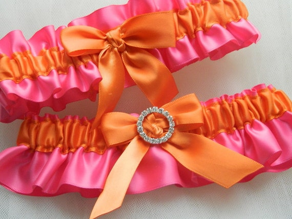 Wedding Garter Set Hot Pink And Orange With Rhinestone