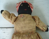 Vintage Aunt Jemima Topsy Turvy Rag Doll Black White Folk Art