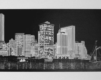 New York City Vintage Delbart Duchein 1980 Lower Manhattan Skyline at Night Signed Lithograph
