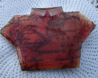 Upcycled Map Eco Friendly Vintage Map T-Shirt Pin Tokyo Japan