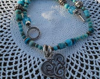 SALE Vintage Native American Turquoise Silver Double Wrap Bracelet Southwest Valentine