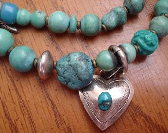Vintage Native American Wrap Turquoise Sterling Bracelet