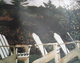 1986 Vintage Andrew Wyeth Fine Art Poster Island Library Adirondack Chairs Monhegan Maine