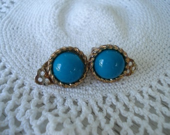 Vintage Gold and Turquoise Clip Earrings