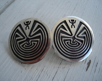 Vintage Artist Signed Native American Hopi Sterling Silver Man in a Maze Labryrinth Earrings
