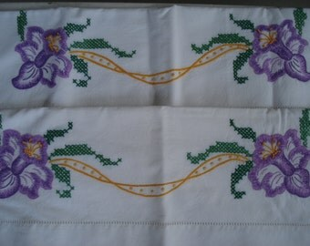 Purple Orchids Iris Flowers Vintage Hand Embroidered Pillowcases Set of Two