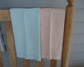 Peach and Mint Set of 2 Vintage Antique Kitchen Guest Hand Towels Cotton