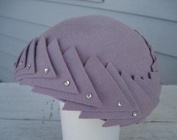 RESERVED FOR Coauthor Vintage Lavender Art Deco Hat Rhinestone Touches Merrimac Etsy Treasury Item