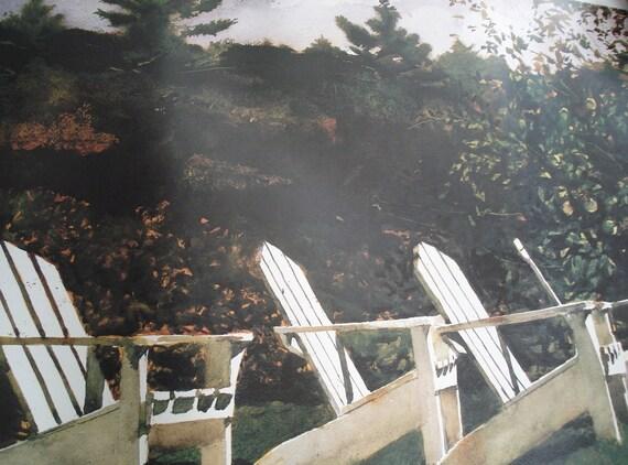 1986 Vintage Andrew Wyeth Fine Art Poster Island Library Adirondack Chairs Monhegan Maine