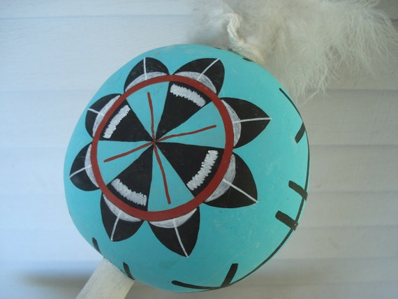 Vintage Native American Gourd Rattle Handpainted Tribal Turquoise Feathers