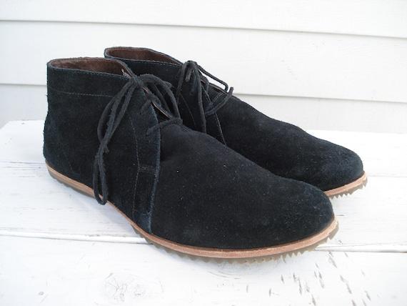 SALE Vintage Black Suede Desert Chukka Ankle Boots Women's Size 11 Mens Size 9