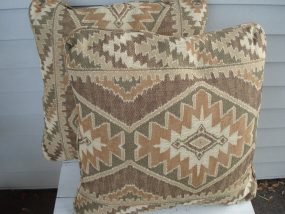 Set of Two Vintage Throw Pillows Native American Inspired Tribal