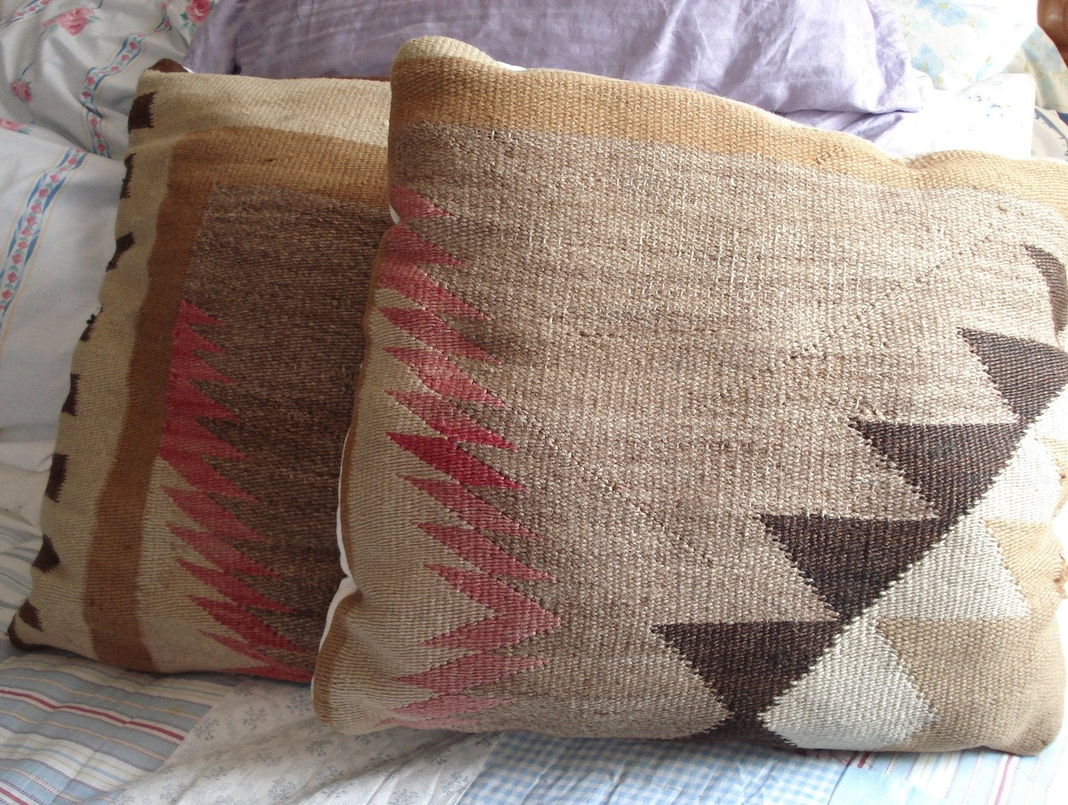 Two Pillows Vintage Throw Pillows Repurposed Native American