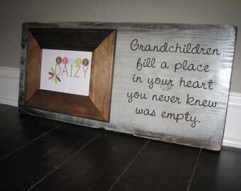 "Chunky 5x7"" Distressed Grandchildren Frame"