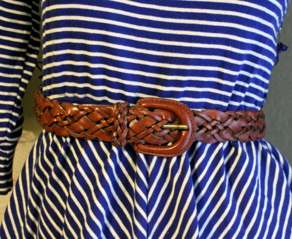 Vintage Chestnut Brown Leather Woven Belt S/M