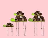 Turtle Family on Pink (Childrens Fine Art Print 5x7)