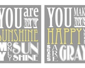 You Are My Sunshine and You Make Me Happy Duo (set of 2 prints 12x18 size)