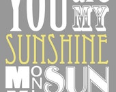 You Are My Sunshine print (8x10 size)