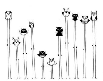 Owls in Black and White ( 8x10 Art Print )