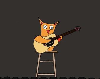 Acoustic Owl ( 8x10 Children's Art Print )