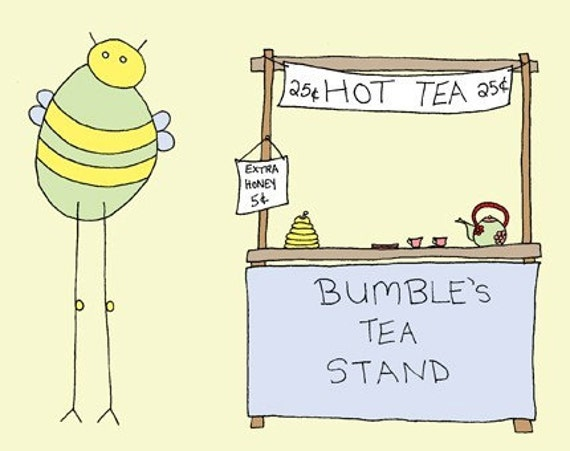 Bumble's Tea Stand ( 8x10 Children's Art Print)