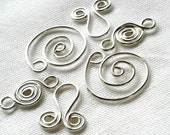 6pc - Nautilus, Coils & Us- silver plated charm dangle link connector pendant steampunk scrapbooking altered art window decor