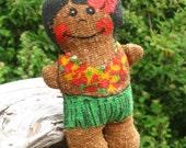C & H Sugar Girl, terry sponge Hawaiian hula Doll, 70s promo