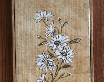 SALE Botanical Tile, Wood framed natural tones, Italian daisies 6x12